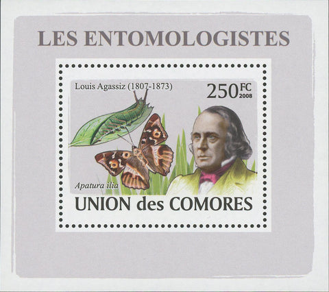 Entomologist Louis Agassiz Butterfly Mini Sov. Sheet MNH