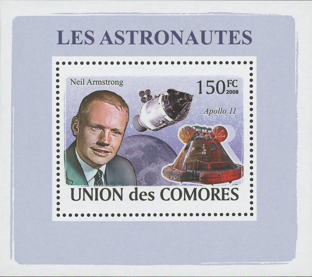 Astronaut Neil Armstrong Space Mini Sov. Sheet MNH