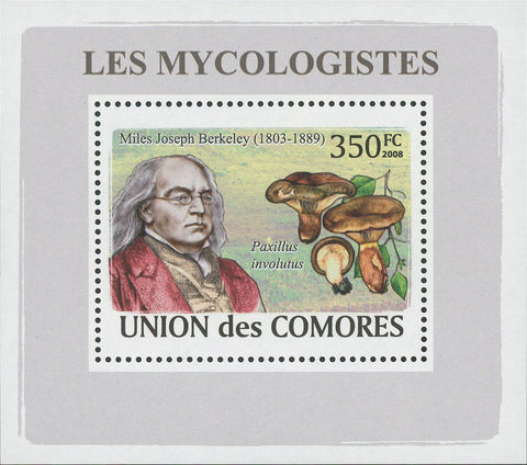 Mycologist Miles Joseph Berkeley Fungi Mushrooms Mini Sov. Sheet MNH