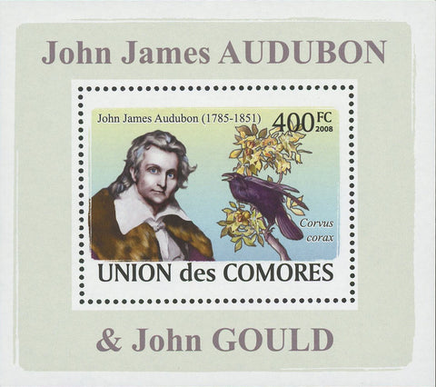 John James Audubon Corvus Corax Bird Mini Sov. Sheet MNH