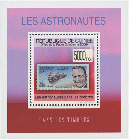 Stamp in a Stamp Astronauts Qatar Mini Sov. Sheet MNH