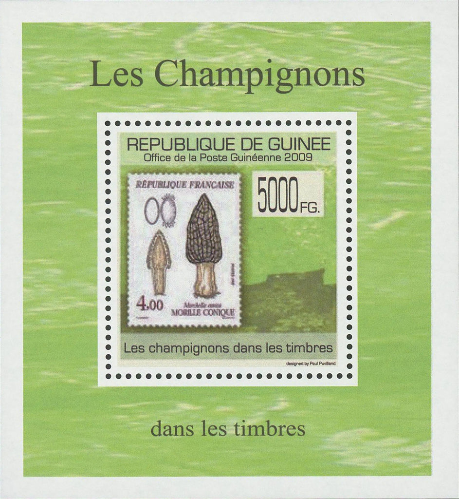 Stamp in a Stamp Mushrooms Fungi France Mini Sov. Sheet MNH