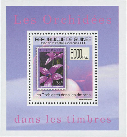 Stamp in a Stamp Orchidaceae Australia Mini Sov. Sheet MNH