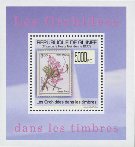 Stamp in a Stamp Orchidaceae Flower India Mini Sov. Sheet MNH