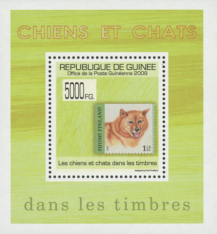 Guinea Stamp in a Stamp Dogs and Cats Suomi Finland Mini Sov. Sheet MNH