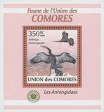 Stamp in a Stamp Darter Birds Anhinga Melanogaster Mini Sov. Sheet MNH