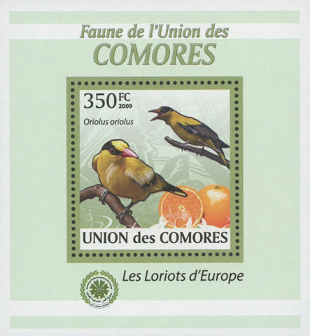 Comoros Oriole Birds Fruits Orange Mini Sov. Sheet MNH