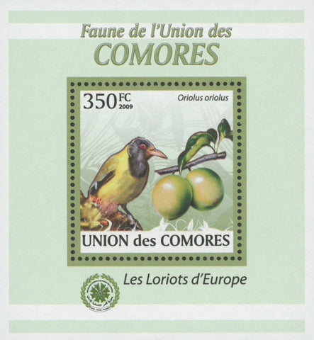 Comoros Oriole Birds Fruits Mango Mini Sov. Sheet MNH