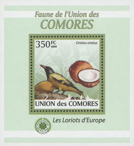 Comoros Oriole Birds Fruits Coconut Mini Sov. Sheet MNH