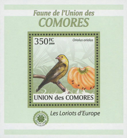 Comoros Oriole Birds Fruits Banana Mini Sov. Sheet MNH