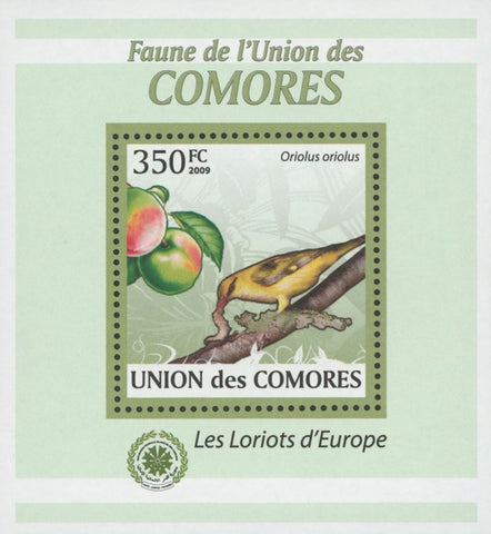 Comoros Oriole Birds Fruits Peach Mini Sov. Sheet MNH