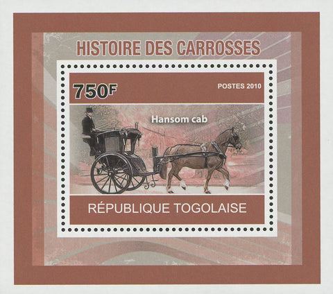 Carriages History Hansom Cab Mini Sov. Sheet MNH