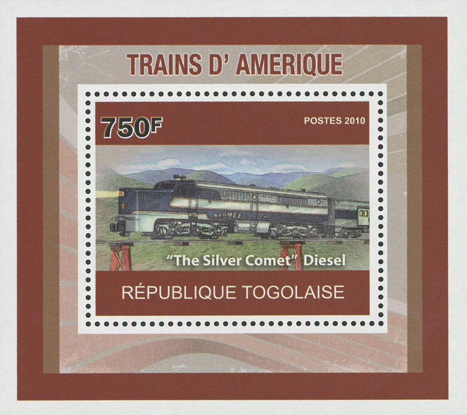 "American Trains ""The Silver Comet"" Diesel Mini Sov. Sheet MNH"