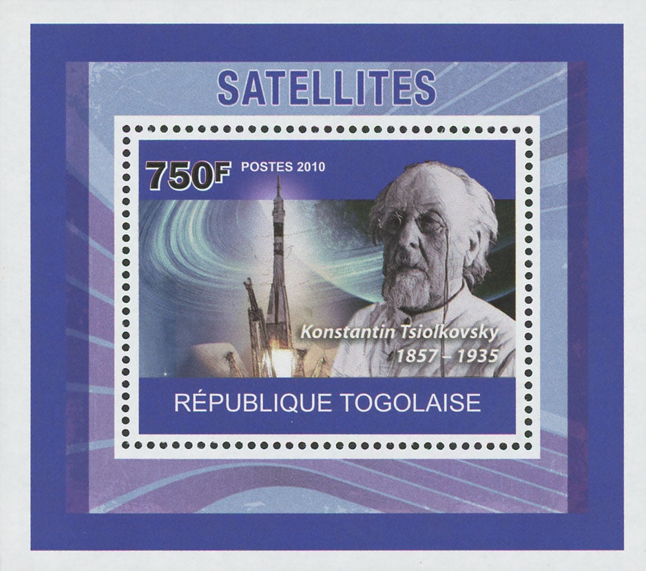 Satellites Konstantin Tsiolkovsky Mini Sov. Sheet MNH