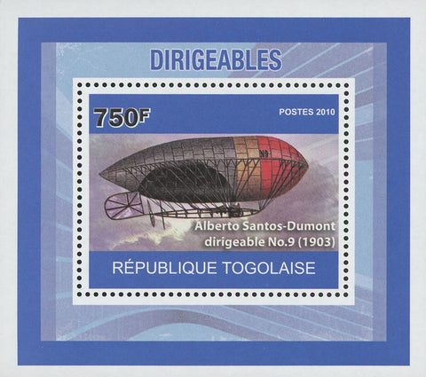 Dirigibles Alberto Santos-Dumont No. 9 Airship Mini Sov. Sheet MNH