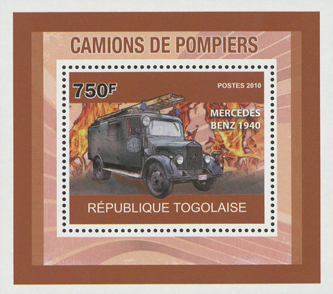 Firefighters Trucks Mercedes Benz Mini Sov. Sheet MNH