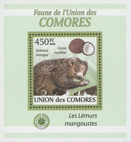 Mongoose Lemurs Coconut Mini Sov. Sheet MNH
