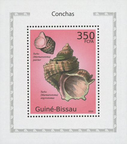 Guiné-Bissau Seashells Turbo Ocean Mini Sov. Sheet MNH