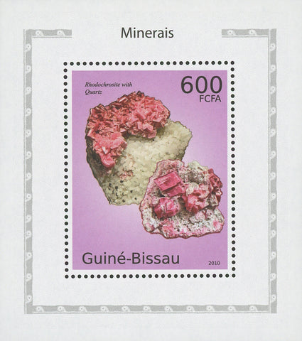Minerals Rodochrosite with Quartz Mini Sov. Sheet MNH