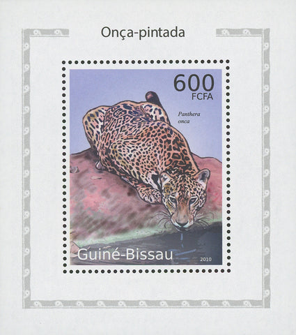 Jaguars Panthera Onca Drinking Water Mini Sov. Sheet MNH