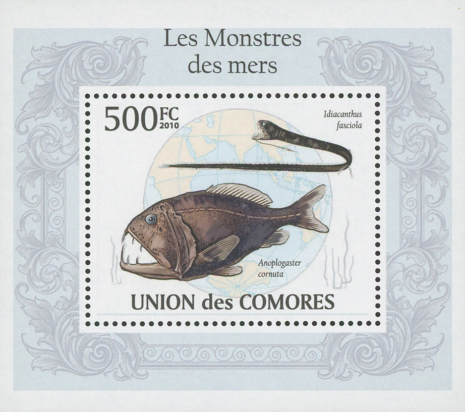 Sea Monsters Idiacanthus Fasciola Mini Sov. Sheet MNH