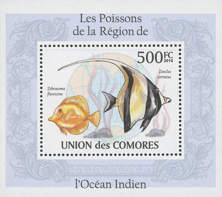 Indian Ocean Fish Zanclus Cornutus Mini Sov. Sheet MNH