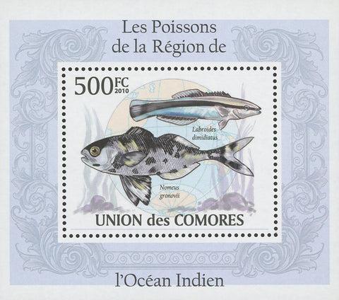 Indian Ocean Fish Nomeus Gronovii Mini Sov. Sheet MNH
