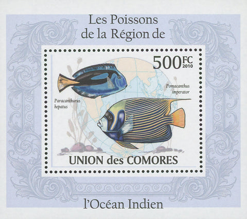 Indian Ocean Fish Pomacanthus Imperator Mini Sov. Sheet MNH