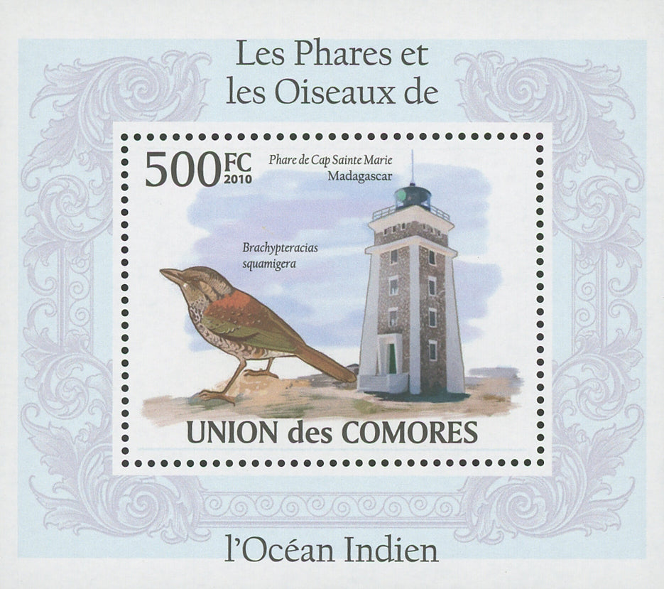 Indian Ocean Lighthouses and Birds Brachypteracias Mini Sov. Sheet MNH