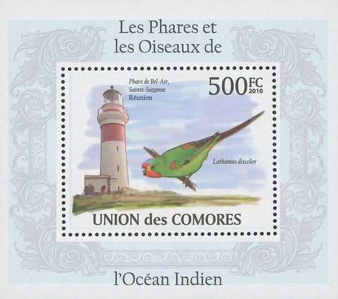 Comoros Indian Ocean Lighthouses and Birds Lathamus Mini Sov. Sheet MNH