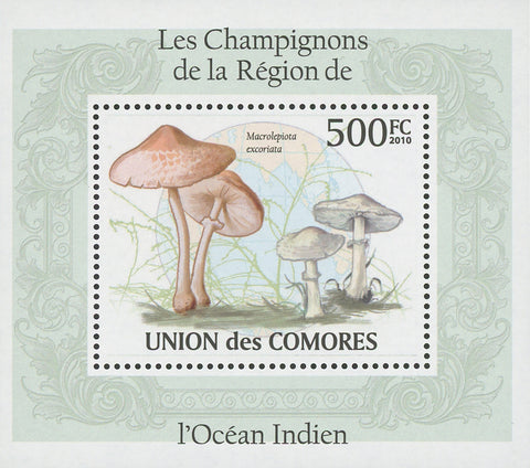 Indian Ocean Mushrooms Macrolepiota Excoriata Mini Sov. Sheet MNH