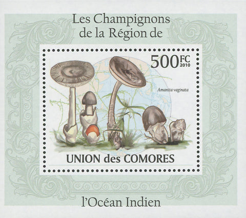 Indian Ocean Mushrooms Amanita Vaginata Mini Sov. Sheet MNH