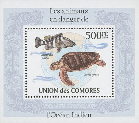 Indian Ocean Endangered Animals Epinephelus Striatus Mini Sov. Sheet MNH