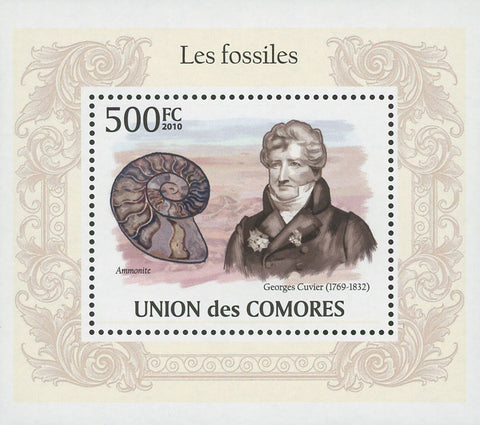 Fossils Ammonite Georges Cuvier Mini Sov. Sheet MNH