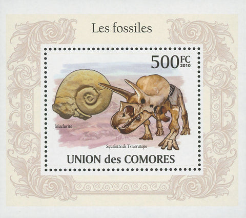 Fossils Triceratops Skeleton Mini Sov. Sheet MNH