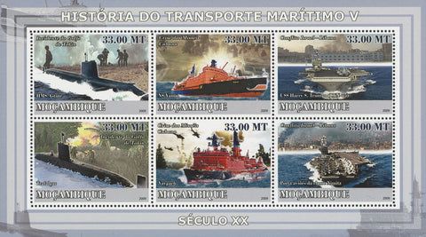 Maritime Transportation History Souvenir Sheet of 6 Stamps MNH