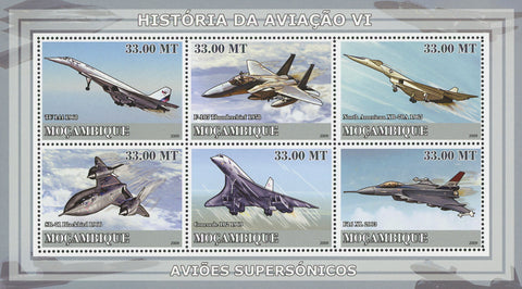 Mozambique Aviation History Souvenir Sheet of 6 Stamps MNH