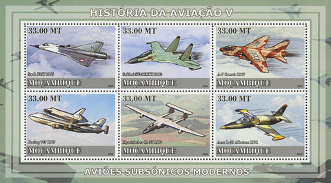 Mozambique Aviation History Supersonic Airplanes Souvenir Sheet of 6 Stamps MNH