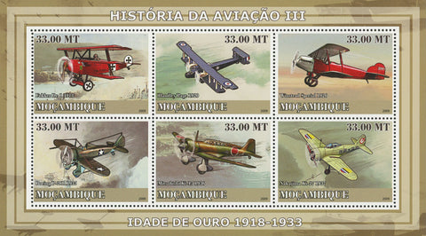 Mozambique Aviation Golden Age History Sov. Sheet of 6 Stamps MNH