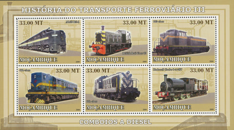 Rail Stamp Transportation History Diesel Trains Sov. Sheet of 6 MNH