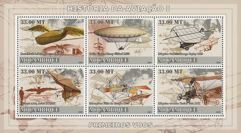 Mozambique Aviation History First Flights Souvenir Sheet of 6 Stamps MNH