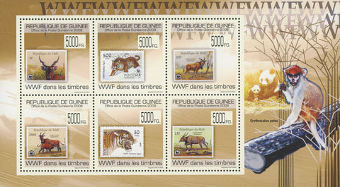 Guinea Stamp in a Stamp WWF Sov. Sheet of 6 Stamps MNH