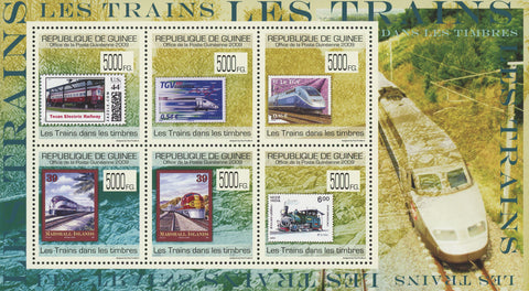 Guinea Stamp in a Stamp Trains Souvenir Sheet of 6 Stamps MNH