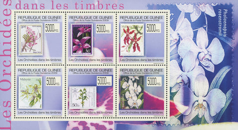 Stamp in a Stamp Orchidaceae Flower Souvenir Sheet of 6 Stamps MNH