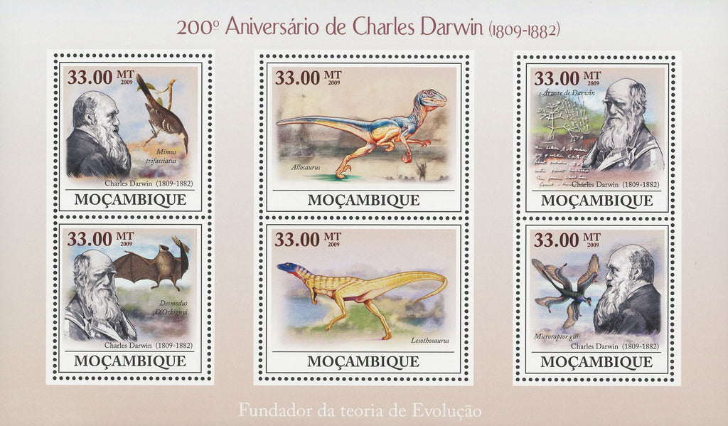 Mozambique Charles Darwin Anniversary Souvenir Sheet of 6 Stamps Mint NH