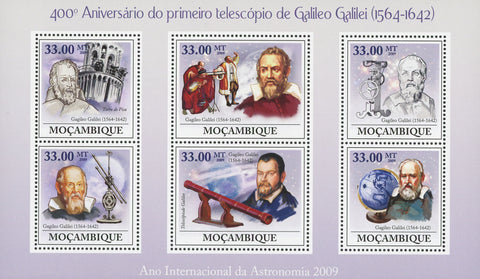 Mozambique Galileo Galilei First Telescope Anniversary Souvenir Sheet of 6 Stamp