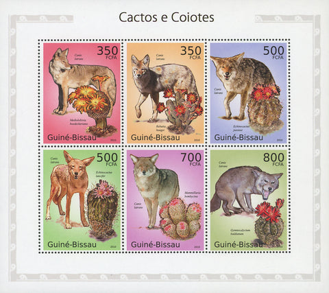 Guiné-Bissau Cactus and Coyotes Souvenir Sheet of 6 Stamps Mint NH