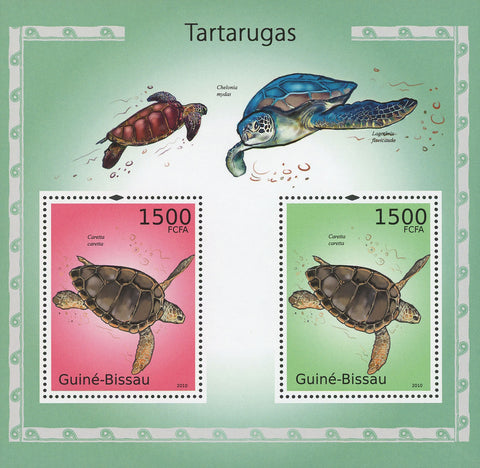 Guiné-Bissau Turtles Souvenir Sheet of 2 Stamps Mint NH
