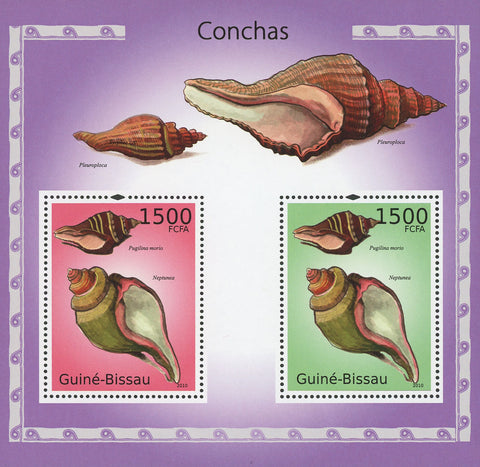 Guiné-Bissau Seashells Souvenir Sheet of 2 Stamps Mint NH