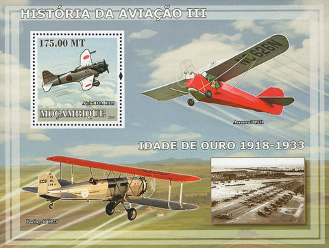 Mozambique Aviation Golden Age History Souvenir Sheet MNH